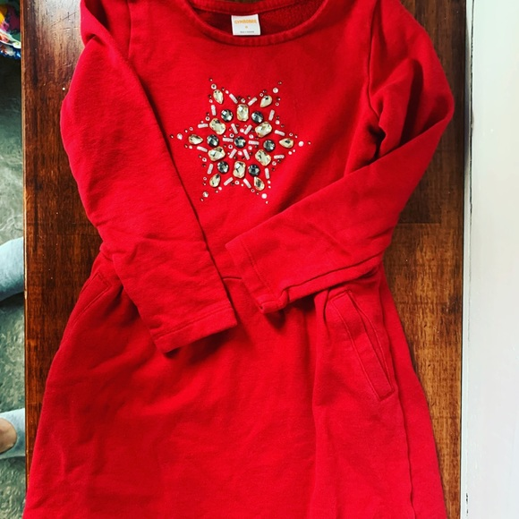 Comfy Red Jewel 💎 Snowflake ❄️ sweater shirt dress for girls - Size 6 ♥️